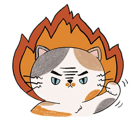 Head of Aggressive cat doodle Illustration digital clipart Cat of fire on white background