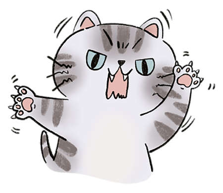 Head of Aggressive cat doodle Illustration digital clipart Cat emotion anger and claw on white background 版權商用圖片