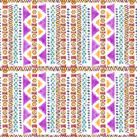 Ethnic african seamless pattern Horizontal stripes multicolor print for your textiles wrapping paper card digital clipart illustration