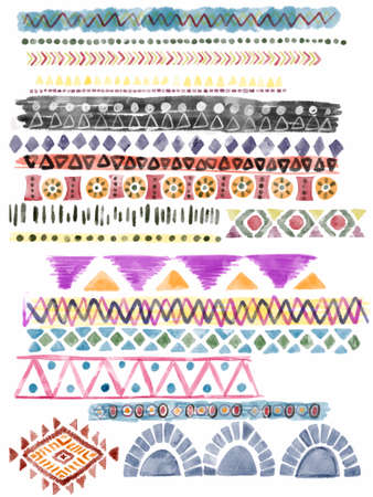 Ethnic afrcan seamless pattern Horizontal stripes multicolor element isolated  digital clipart illustration 版權商用圖片