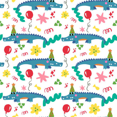 Hand drawn birthday party blue crocodile Alligator digital clipart cute seamless pattern Illustration