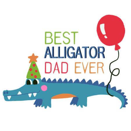 Hand drawn birthday party blue crocodile Alligator digital clipart cute doodle Illustration 版權商用圖片
