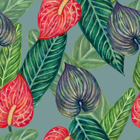 Hand painting seamless background pattern inspired by anthurium and caladium and peace lily flower and pothos watercolor illustration
