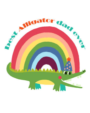 Abstract shape Rainbow multicolor doodle cute and Alligator character design digital clipart  for holidays cards  greetings prints banners