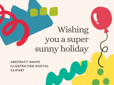 Abstract shape artistic colorful multicolor doodle cute design digital clipart  for holidays cards  greetings prints banners template brochure