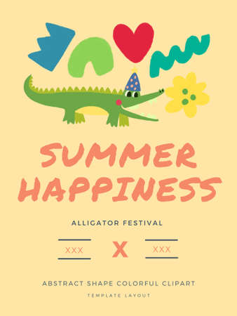 Abstract shape artistic colorful multicolor doodle cute and Alligator character design digital clipart  for holidays cards  greetings prints banners template label 版權商用圖片