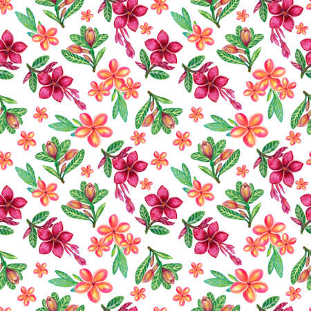 Seamless pattern with tropical flowers and leaves Decorative exotic jungle Plumeria Frangipani for textile texture backdrop background 版權商用圖片