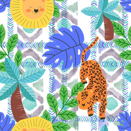 African seamless pattern  set with animals in cartoon style collection with mammals and botanical on a kid theme 版權商用圖片