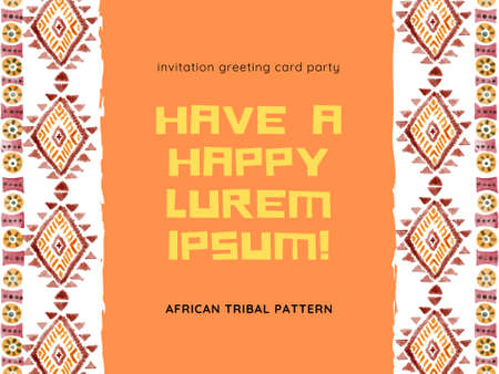 Ethnic afican rsvp invitation greeting template Horizontal stripes colorful print for your paper card digital clipart