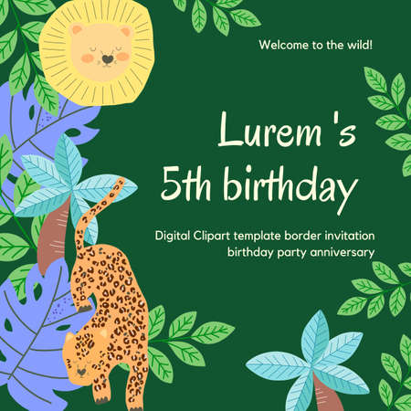 Anniversary Birthday party animal tiger lion and monstera coconut palm and leaf digital clipart cute doodle Illustration