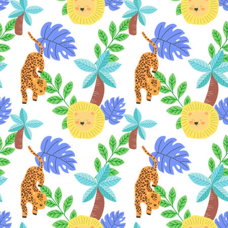 Zoo seamless pattern set with animals in cartoon style collection with mammals and botanical on a kid theme