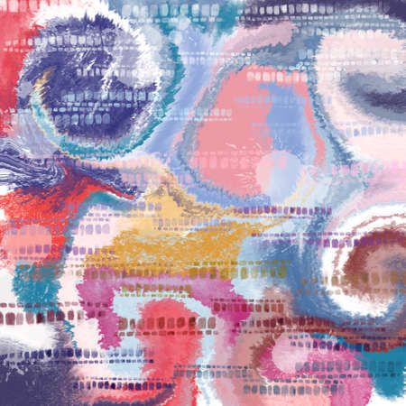 Cloud spiral and stamp multicolor  pattern abstract grunge and splash watercolor beautiful shibori tie dye paint Texture decoration digital clipart