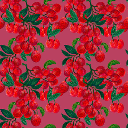Lychee Tropical fruit seamless repeat pattern Tropical fruits textile texture for Food print, fabric wrapping decorative backdrop illustrationby hand