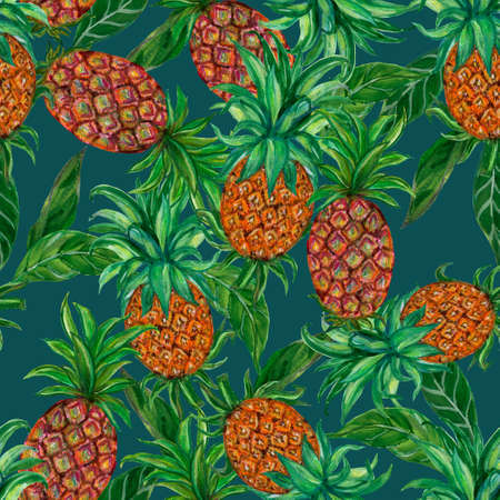 Pineapple seamless repeat pattern Tropical fruits textile texture for Food print, fabric wrapping decorative backdrop illustration by hand 版權商用圖片