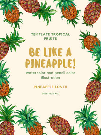 Tropical fruits plants Pineapple botanical greenery template greeting invitation card illustration by hand