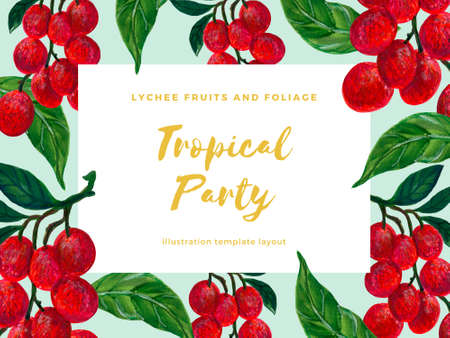 Tropical fruits plants exotic Lychee botanical greenery template greeting invitation card illustration by hand