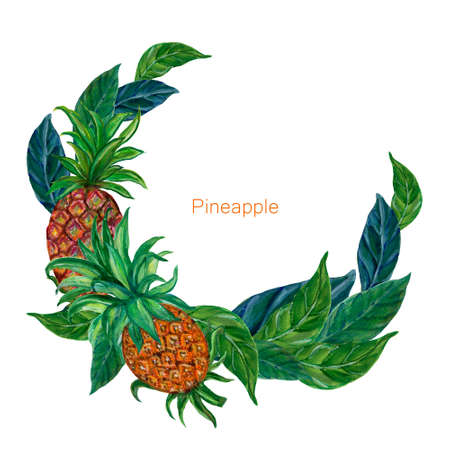 Tropical fruits plants Pineapple botanical greenery watercolor gouache circle wreath on white background