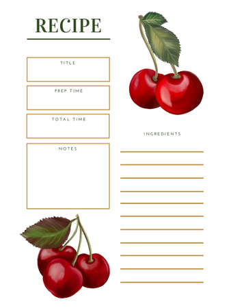 Cherry fruit sweet and sour cherry ripe Cherries with foliage leaves template label recipe menu