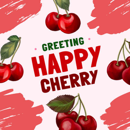 Digital Clipart cherries fruit plants botanical invitation party template greetings illustration for your projects, greeting cards ,print paper 版權商用圖片