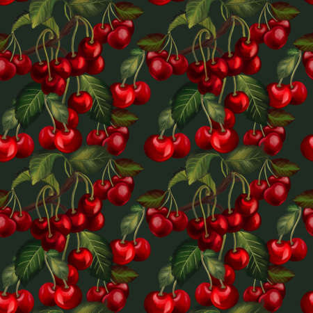 Cherry tree leaves, branches foliage deep red vintage seamless pattern illustration digital hand paint For design textiles, paper, wallpaper, backdrop