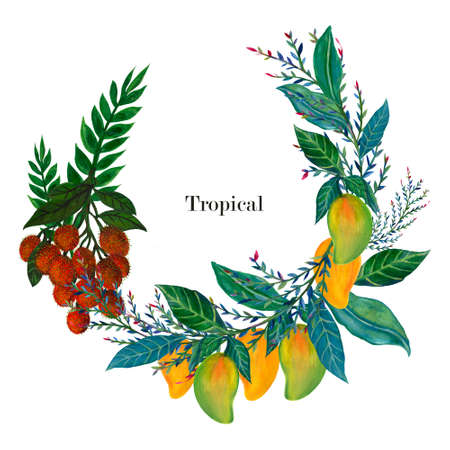 Set of fresh mango and rambutan greeting template wreath circle  isolated on white background watercolor illustration hand painting