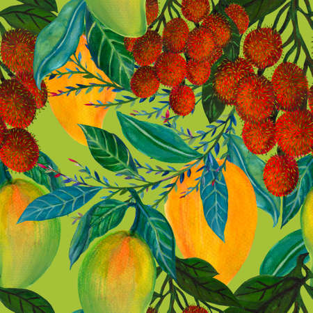 Seamless pattern with fresh bright exotic mango rambutan Summer fruits Organic botanical illustration for textile fabric texture paper wrapping illustration 版權商用圖片