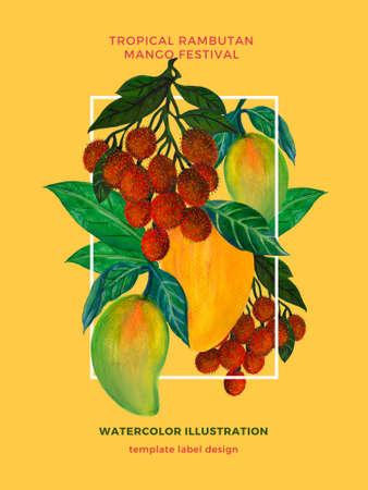 Set of fresh mango and rambutan template poster label bouquet watercolor illustration hand painting 版權商用圖片