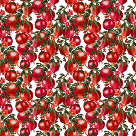 Hand painting seamless repeat pattern background inspired pomegranate plants flower blooming watercolor illustration