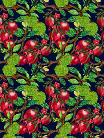 Vintage watercolor gouache and digital clupart pomegranate custard apple botanical leaves floral foliage repeat pattern for wallpaper, fabric, wrapping, card hand paint