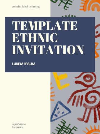Ethnic folk indian african zigzag Horizontal stripes symbol multicolor template label digital clipart illustration