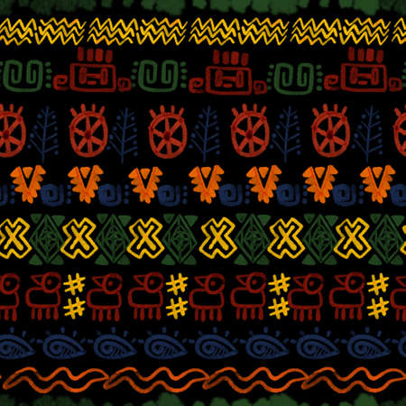 Ethnic folk indian african zigzag Horizontal stripes symbol multicolor seamless repeat pattern colorful digital clipart