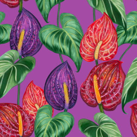 Anthurium plants, flowers, leaves, branches foliage seamless pattern illustration watercolor hand paint For design textiles, paper, wallpaper, backdrop 版權商用圖片