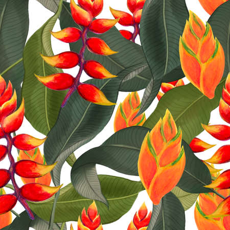 Watercolor gouache Rainforest Heliconia plants branches with leaves and Hand drawn illustration Design for wedding invitations fabric pattern scrapbook greeting cards