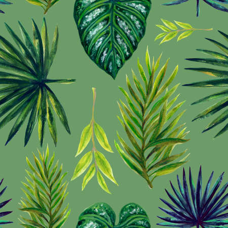 Watercolor illustration Botanical collection green tropical leaves foliage leaves Set of wild and abstract seamless pattern hand drawing 版權商用圖片