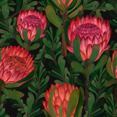 Protea flower foliage leaf botanical blooming digital drawing painting seamless pattern for fabric fashion print textile texture