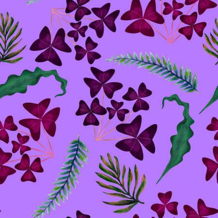 Hand painting watercolor illustrationinspired by ahouseplants oxalis tropical rainforest foliage leaf plants seamless pattern repeat 版權商用圖片