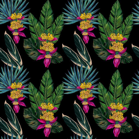 Botanical watercolor gouache illustration tropical houseplant rainforest seamless repeat patttern for textile fabric , print paper, wallpaper backdrop background