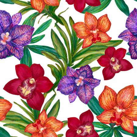 Hand drawn greeting card, calendar, planner inspired by ancient elegant orchid wild flower botanical blooming foliage and leaf colorful seamless repeat pattern