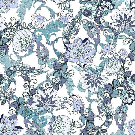 Digital Clipart seamless repeat pattern jacobean indian retro elegance blue color flower wild field foliage leaf illustration