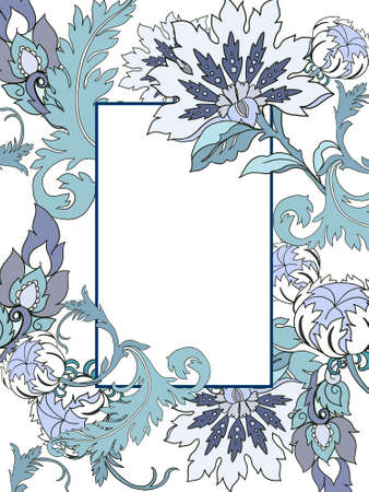 Digital clipart illustration Botanical leaves collection Set Jacobean Baroque blue flower garden and abstract leaves template greeting card