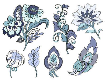 Illustration Digital element flower leaf jacobean rococo baroque isolated arrangement ornament on white background 版權商用圖片