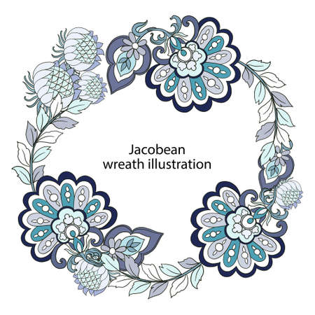 Illustration Digital bouquet wreath flower leaf jacobean rococo baroque navy blue botanical template greeting circle festive label card