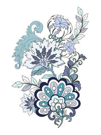 Digital Illustration  beautiful elegant vintage botanical rococo baroque jacobean flower  bouquet hand painted on white 版權商用圖片