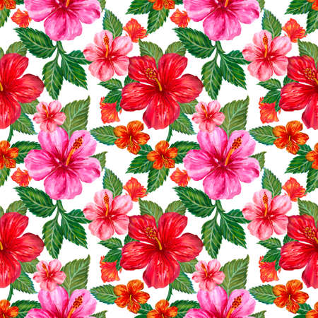 Watercolor hibiscus colorful botanical flowers, leaves, foliage, garland , tropical exotic jungle seamless repeat pattern Hand drawn