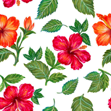 Hand painting seamless background pattern inspired by Tropical houseplants Hibiscus flower watercolor illustration