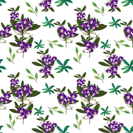Orchid flowers, leaves, branches foliage Floral ancient seamless pattern. illustration watercolor hand paint For design textiles, paper, wallpaper, backdrop