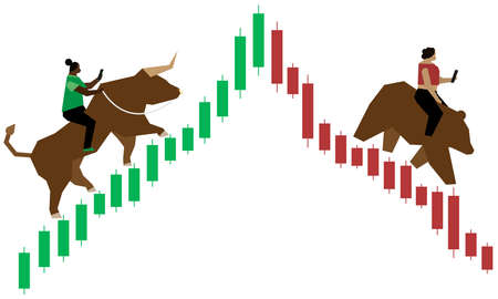 One woman of color riding bull up a green (bullish) Japanese candlestick market graph while another one rides a bear down the red (bearish) side graph as they both trade forex on their smartphones. Ilustración de vector