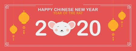 Happy Chinese New Year 2020 landscape illustration in soft red background, with cartoon rat head, and yellow lantern.