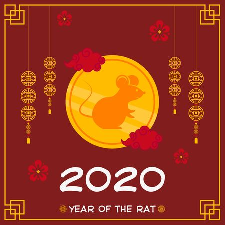 Happy Chinese New Year 2020 illustration in red background, with clouds, hanging lanterns, hanging chinese decorations, and flowers.  イラスト・ベクター素材