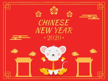 Chinese New Year 2020 illustration in red background, with rat cartoon character, chinese gates, clouds, ingot, and flowers.